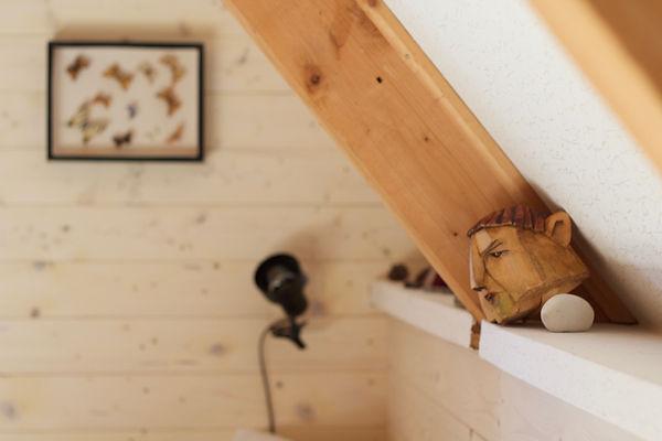 návrhy interiéru dekorace dřevěná chata motýli hlava