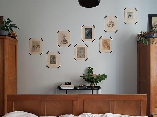 návrhy interiéru secesní ložnice starožitný scandi rytiny