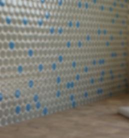 interior design czech prague penny tile mosaic end grain wood worktop farmers sink