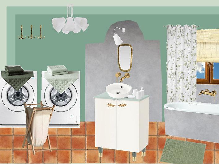návrhy interiéru zelená koupelna