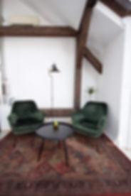 sametová křesla zelená koberec kancelář návrhy interiérů interiérový design podkroví