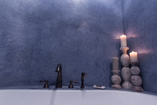 RabunaDesign modrá koupelna marocký štuk tadelakt