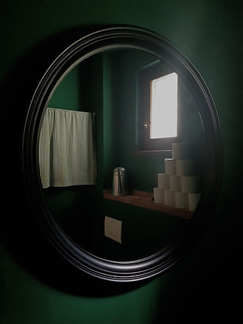 interior design Prague Czech dark green restroom powder room toilet wc emerald black round mirror