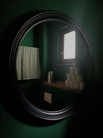 návrhy interiéru zelená toaleta černé kulaté zrcadlo wc