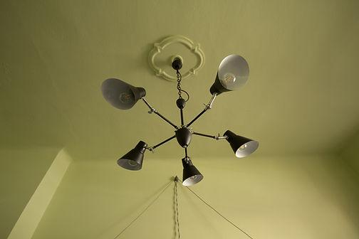 interior design Prague Czech black pendant chanadlier light ceiling medalion chartreuse