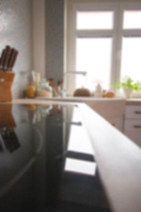 interior design czech prague white kitchen styling penny tile mosaic wood worktop brass
