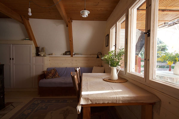 cabin RabunaDesign interior design Prague wooden summer house cottage before after living room cabin Czech