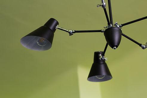 návrhy interiéru černý lustr zelená