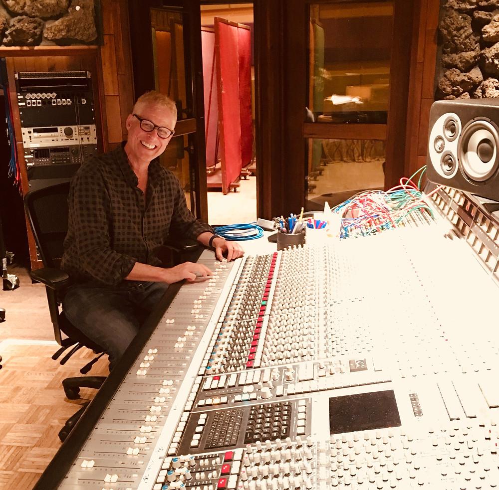 Shambhu at the mixing board for Lilac Skies, his new album.