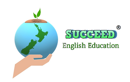 Logo of SUCCEED English Education. Image contains a world globe in the palm of a hand with NZ in the forefront.