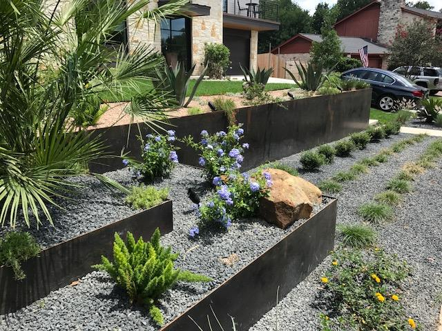 Steel Planters by JXC Landscaping