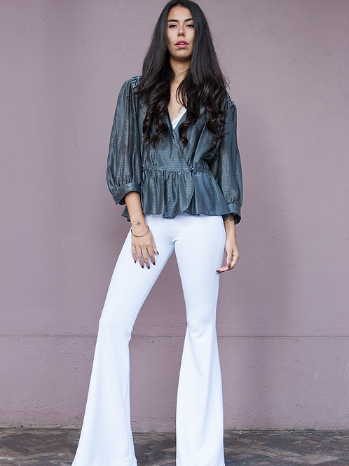 VICTORIA CLEAR WHITE flared pants