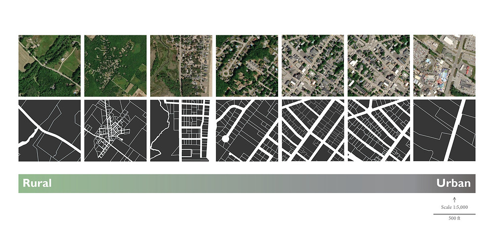 Aerial images and associated figure ground showing land use in Saco along an urban-rural transect