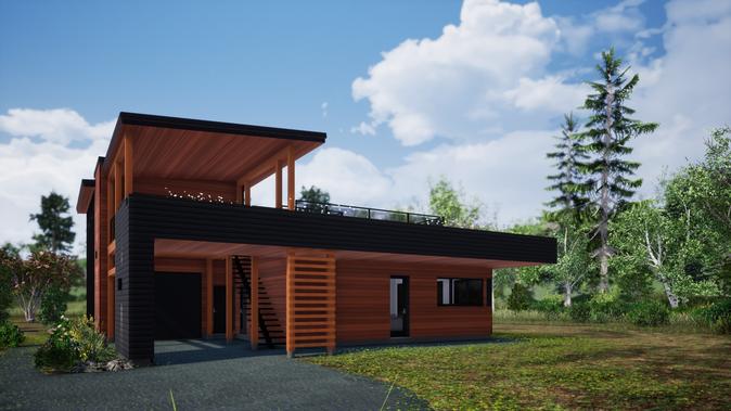 Plan d'architecture d'une maison écoénergétique