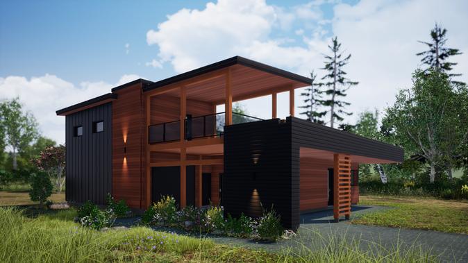 Plan d'architecture d'une maison écologique