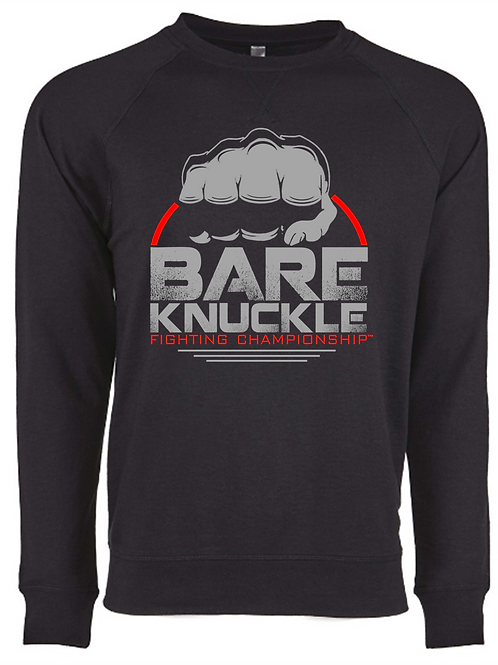 Bare Knuckle FC Circle Logo French Terry Crew - Black/Gray/Red