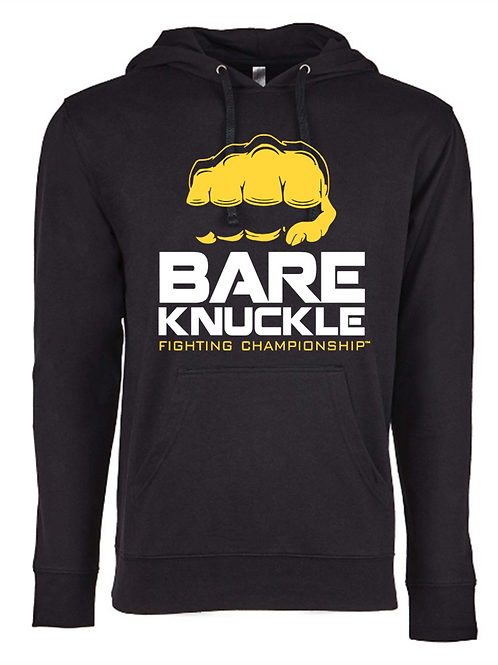 Bare Knuckle FC Logo French Terry Hoodie - Black/Yellow/White