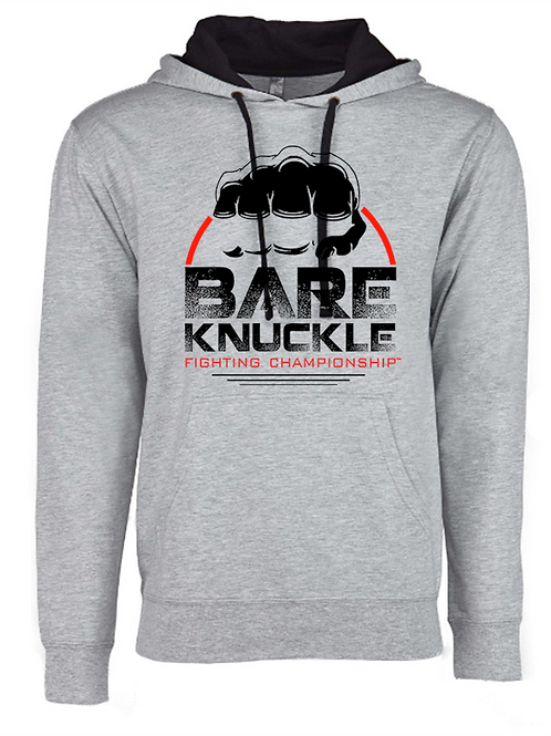 Bare Knuckle FC Circle Logo French Terry Hoodie - Gray/Black/Red