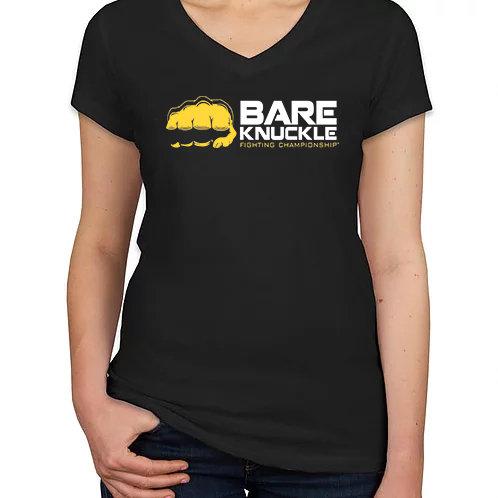 Ladies Bare Knuckle Sideways Logo Shirt - Black/Yellow/White