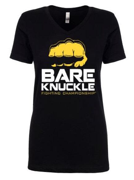 Ladies V-Neck T-Shirt with BKFC Logo Black/Yellow/White