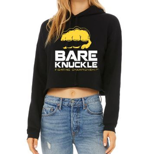 Ladies Cropped Fleece Hoodie - BK Logo - Black/Yellow/White