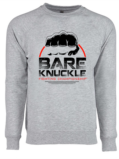 Bare Knuckle FC Circle Logo French Terry Crew - Gray/Black/Red