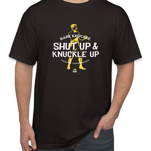 """Shut Up & Knuckle Up"" T-shirt - Black/Yellow/White"