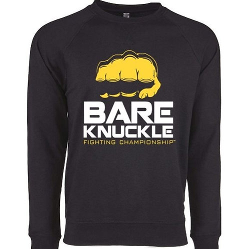 Bare Knuckle FC Logo French Terry Crew - Black/Yellow/White