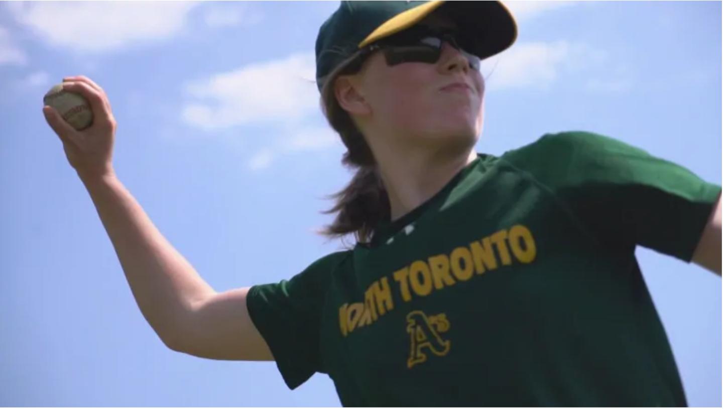 Tillie Burlock starting catcher for Toronto boys rep team