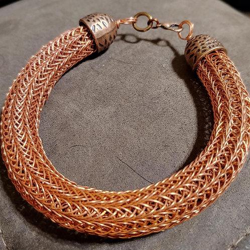 Thick Copper Viking Knit Bangle