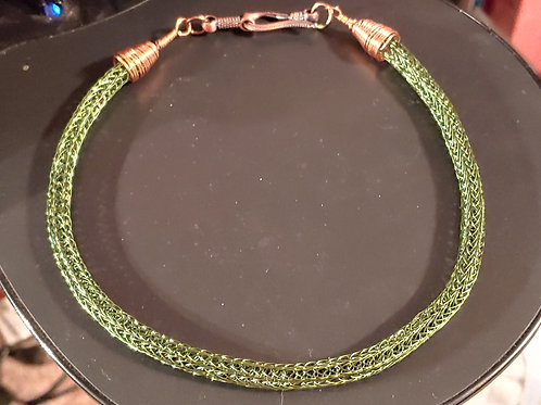 Dark Green Thick Viking Knit Necklace