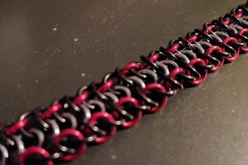 Alligator Back Bracelet in Black Red and Grey