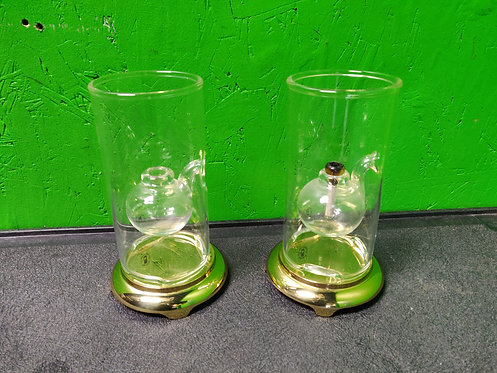 """6"""" Handblown Glass Oil Lamp with Stand - Pair"""
