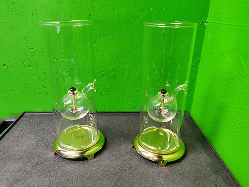 """Wolf hard 12"""" Hand Blown Oil Lamps - Set of 2"""