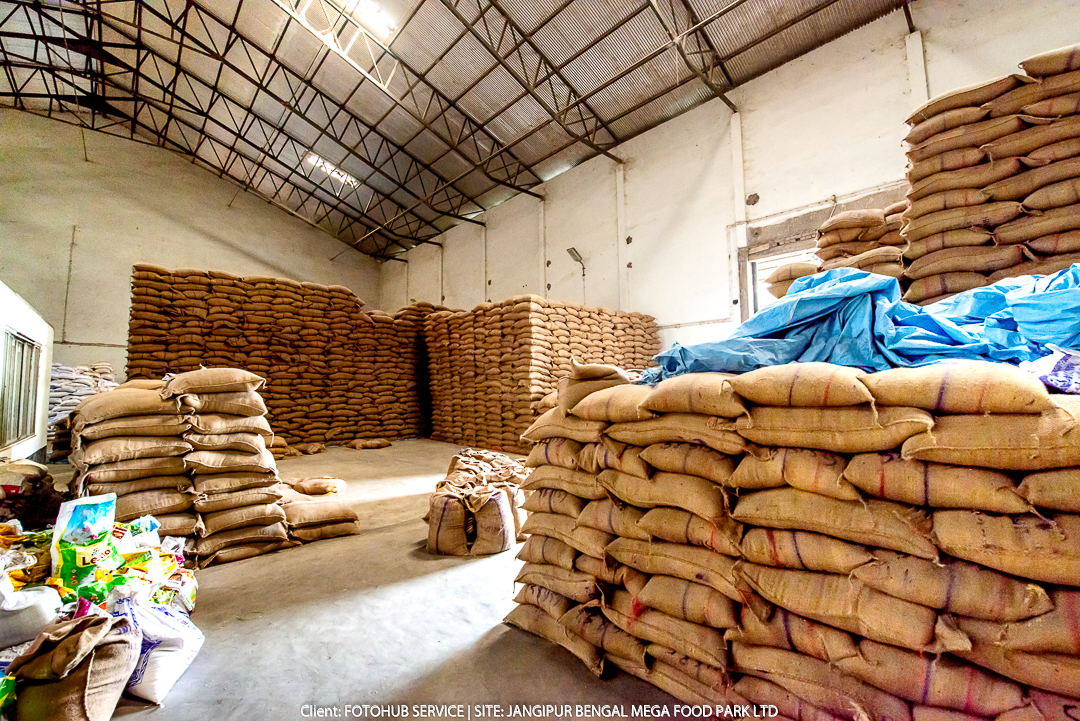 Paddy stored at factory godown