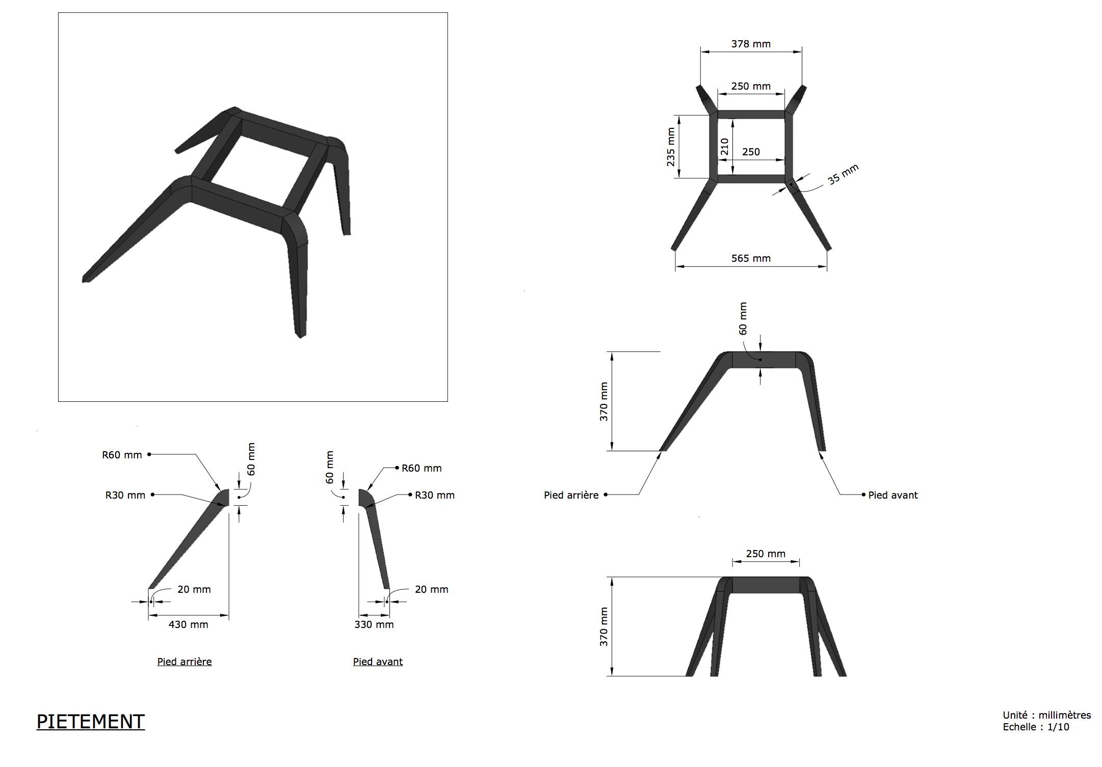 Plan piétement fauteuil