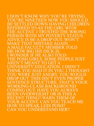 2010 - 2020, text art about social class in England and the art world. Orange in Colour with white text