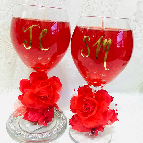 Initial Wine Glass Gel Candles
