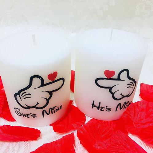 She's Mine He's Mine! Candles Set Of 2