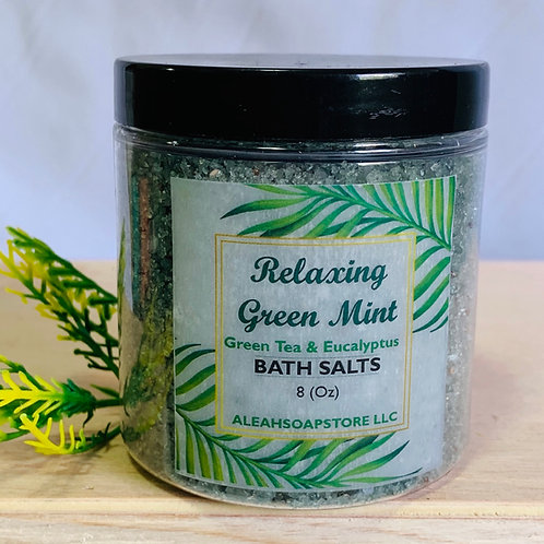 Relaxing Green Mint Bath Salts 8oz