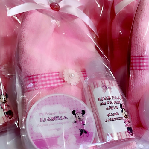 Minnie Mouse Towel ,Soap and Hand Sanitizer Gift Bag