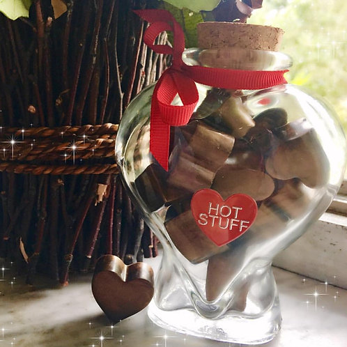 Chocolate Soaps Hearts /Crystal Jar