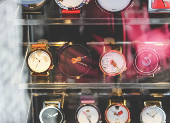 Watches in a store
