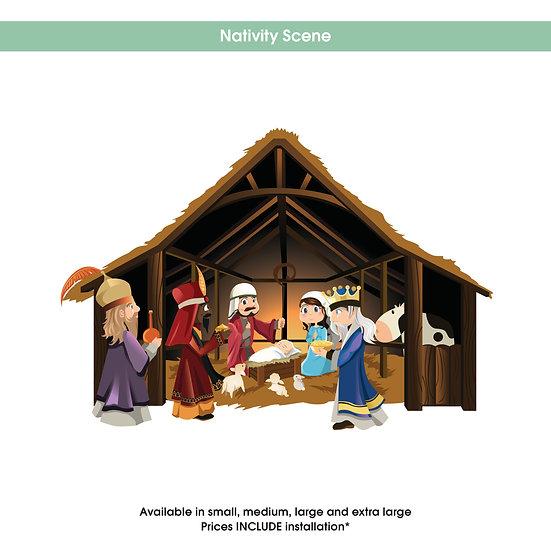 Nativity Scene Christmas Sticker