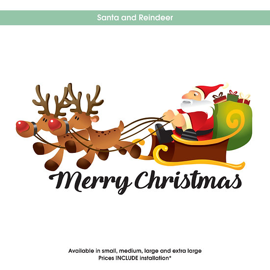 Santa and Reindeer Christmas Sticker