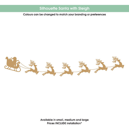 Silhouette Santa with Sleigh Christmas Sticker