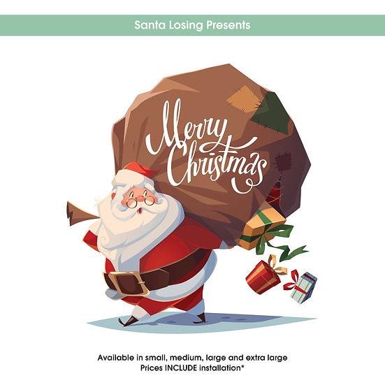 Santa Losing Presents Christmas Sticker