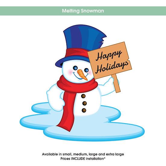 Melting Snowman Christmas Sticker