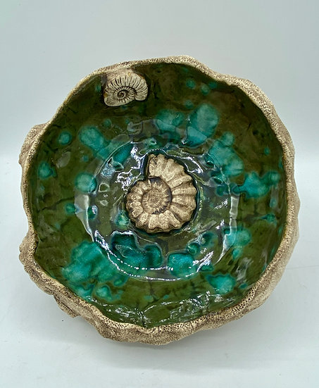 Peacock Fossil Bowl