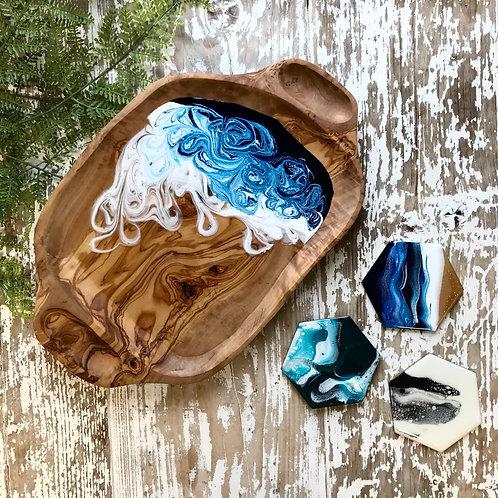 Prussian Blue, XL Olive Wood Bowl